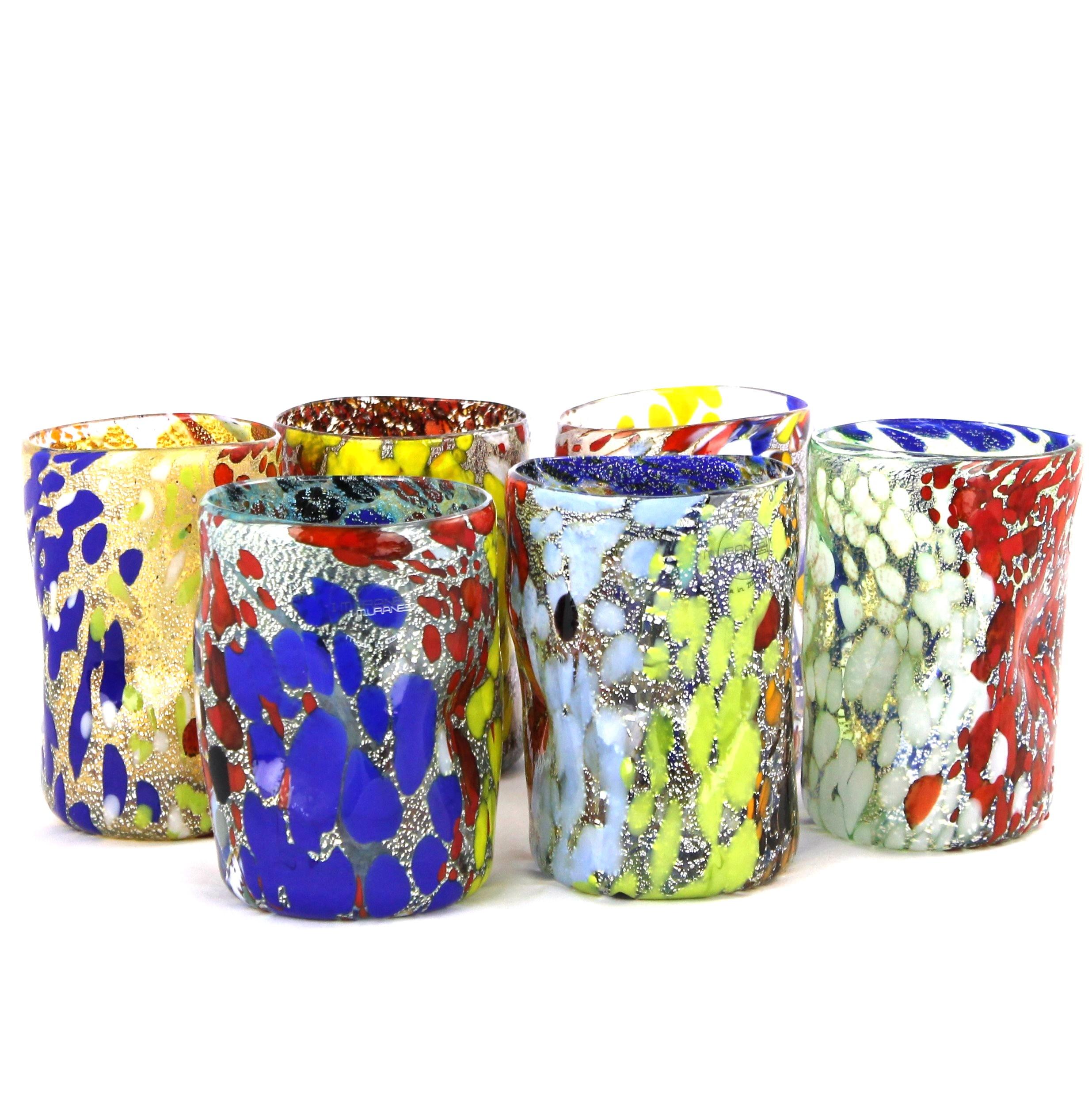 Cartoccio argento set di 6 bicchieri in vetro di murano for Bicchieri colorati vetro