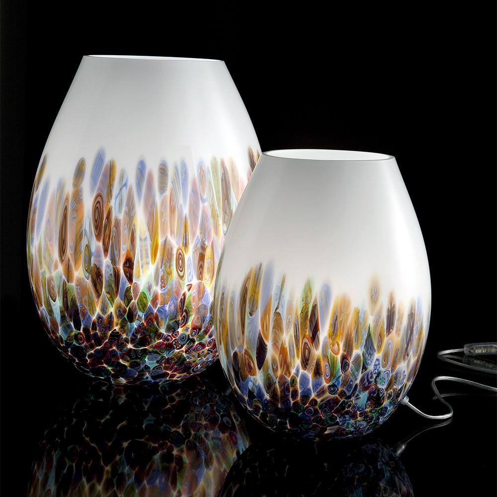 Ambiente lampada bianca multicolor lampade in vetro di for Lampade da tavolo design famose