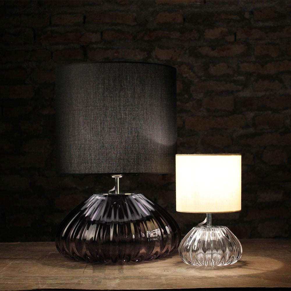 Lampada da tavolo dogaressa cristallo grigio lampade in for Lampade piccole da tavolo